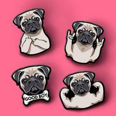 Pug Dog Pink Wooden Pen Box /& Pens Christmas Gift Stationery Dog Gift