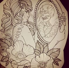 Day of the DeadDia de los muertosRockabilly Pin Up girl pink hair Lowbrow Tattoo art PRINT pink sugar skulls.