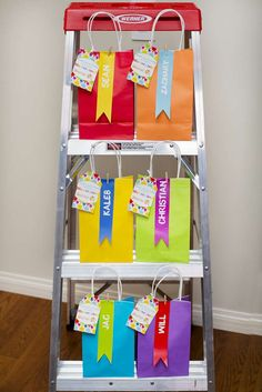 Colorful favor bags at an art birthday party! See more party planning ideas at CatchMyParty.com!