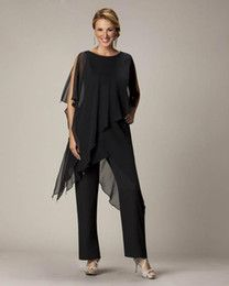 2015 Black Mother's Pants Suit For Mother of The Bride Groom Ladies Womens Cheap Custom Made Chiffon Wedding Party Evening Gowns Hot Sale
