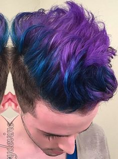 Purple blue ombre side shaved dyed hair