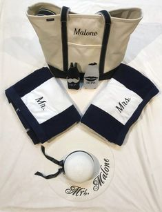 """Now that you've both said """"I do"""" it's time to celebrate! Be sure to pack all the essential honeymoon items you'll need and want to bring with you including this tote bag and adorable floppy hat for the bride!  #honeymoonessentials #honeymoonideas #mrandmrs #honeymoonplaces"""