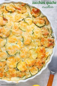 A simple quiche recipe made with only 4 ingredients, this wonderful crustless zucchini quiche makes a satisfying brunch meal all summer long.