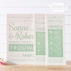 Letterpress trouwkaart Sanne en Robert Typografie - http://www.metinkt.nl/letterpress-trouwkaarten