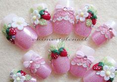 Kawaii 3D ichigo&Flower strawberry nails japanse fake nails handmade