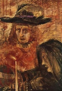 Man with Hat and Woman with Black Scarf Artist: Gulacsy Lajos Completion Date: 1915 Style: Expressionism Genre: figurative painting Art Database, Pictures Of People, Hanging Art, French Artists, Figure Painting, Hats For Men, Dark Art, Great Artists, Oil On Canvas