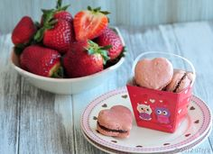 Too adorable for words: Strawberry Sweetheart Macarons Filled with Dark Chocolate Ganache—For Valentine's Day!