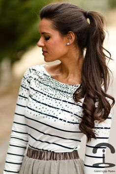 Inspiration: the perfect pony tail poni, hair colors, long curls, long hair, outfit, hairstyl, pony tails, hair looks, shirt
