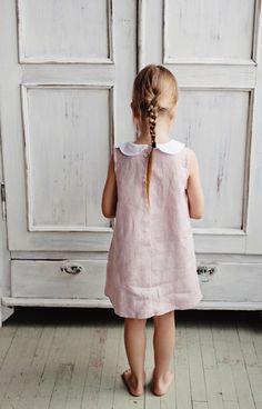 Girls Handmade Linen Dress With Peter Pan Collar | SistersmillShop on Etsy