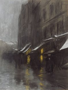 Kees Van Dongen (Dutch, 1877-1968), Scène de rue [Street scene], c.1895. Charcoal, pastel and gouache highlights on paper, 40.5 x 31.3 cm.