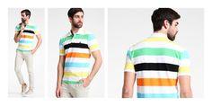Quer gestreift durch den Alltag heißt es mit diesem farblich angehauchten Poloshirt von Benetton. Definitiv ein stylischer Begleiter für den Alltag.
