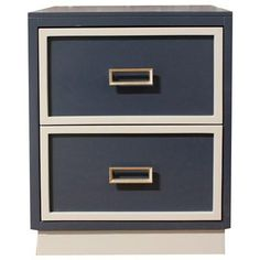 Navy and White Two Drawer Nightstand