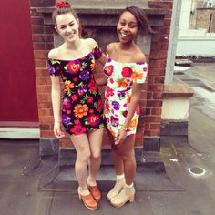 Jessie and Yvonne in Dublin are wearing matching Floral Femme Off Shoulder Dresses. #AmericanApparel
