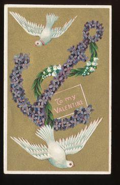 Beautiful Dove Birds Anchor of Flowers Gold Emboss Postcard EEE366 | eBay