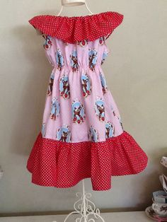 Retro Kitty Rosy Ruffle dress in Pink Holland Deer