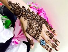 Dubai style Rose Pattern Mehendi Design For Hand - Step By Step - Crazzy Crafts Simple Arabic Mehndi Designs, Modern Mehndi Designs, Mehndi Design Images, Beautiful Henna Designs, Mehndi Designs For Hands, Dubai Mehendi Designs, Dulhan Mehndi Designs, Bridal Mehndi Designs, Mehandi Henna
