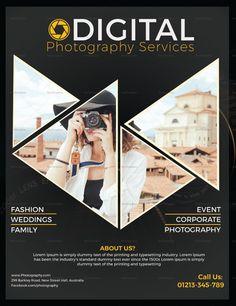 Graphic Design Flyer, Flyer Design Templates, Brochure Design, Flyer Template, Photography Flyer, Advertising Photography, Photography Services, Rollup Banner Design, Magazine Design Inspiration