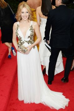 Kylie Minogue in Marchesa with Harry Winston jewellery   The MET Gala 2014 Highlights #metgala   #museumofart   #fashion   http://www.bliqx.net/met-gala-2014-highlights/