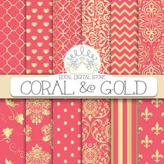 """Coral digital paper: """"CORAL AND GOLD"""" with coral scrapbook paper, coral pattern, coral printable, coral wedding paper, instant download #gold #damask #planner #partysupplies #scrapbookpaper #digitalpaper #wedding"""