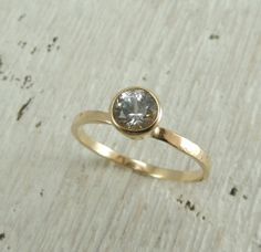 White Sapphire Recycled 14k Gold Ring, Traditional Wedding Ring, Tapered Bezel, Simple Engagement Ring, Handmade Engagement, Solitaire Ring
