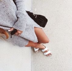 oversized knits + white birks