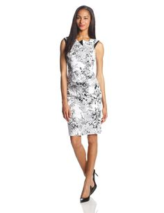 Printed Origami Detail Sheath Dress by Adrianna Papell