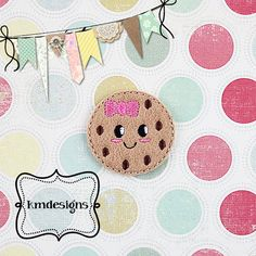 Girly Chocolate Chip Cookie Digital Embroidery ITH Feltie Design