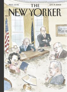 """The New Yorker - Monday, September 19, 2005 - Issue # 4136 - Vol. 81 - N° 28 - Cover """"Deluged"""" by Barry Blitt"""
