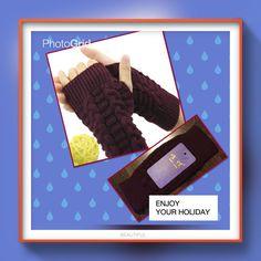 Wine Red Winter Arm Warmer Fingerless Knit Gloves