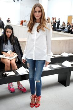 Paris: Olivia showed at Veronique Leroy that something as simple as a white shirt and jeans can be front-row ready — all you need are a pair of killer shoes.
