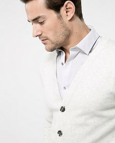 Cotton Blend Button-Front Cardigan - A classic button-front cardigan knit from a rich cotton blend. Knit Cardigan, Slim, Button, Long Sleeve, Classic, Sleeves, Mens Tops, Style, Fashion