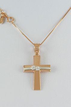 Βαπτιστικός σταυρός με αλυσίδα, σε ροζ χρυσό,14 καράτια, κορίτσι, κωδικός GS321 Jewellery, Pearl Necklaces, Jewels, Accessories, Jewelry Shop, Jewerly, Jewelery, Jewlery