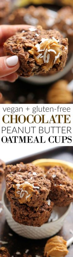 Chocolate Peanut Butter Oatmeal Cups are a super moist, healthy, and delicious on-the-go breakfast or snack!
