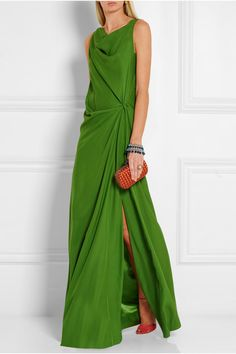 Bright-green silk crepe de chine Slips on 100% silk Dry clean Made in France