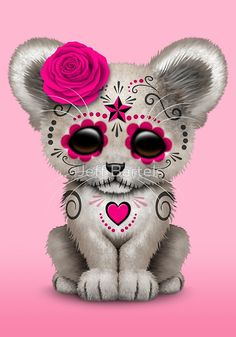 Pink Day of the Dead Sugar Skull White Lion Cub by Jeff Bartels