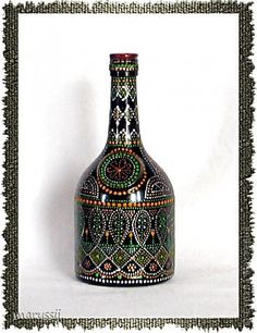 Декор предметов Декупаж Роспись Точечная роспись бутылок Бутылки стеклянные фото 5