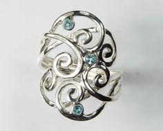 Blue Topaz Ring - Blue Topaz Jewelry - Gemstone Swirl Wave Ring - Sterling Silver Unique Jewelry - December Birthstone Winter Blue Ice on Etsy, $99.00