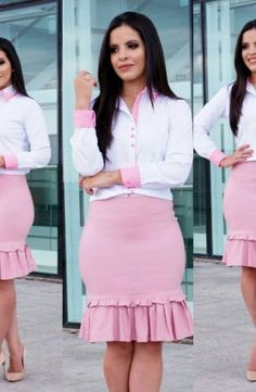EXECUTIVA - Conjunto Samanta Classy Work Outfits, Office Outfits Women, Business Casual Outfits, African Fashion Dresses, African Dress, Modest Fashion, Girl Fashion, Fashion Sewing, Work Attire