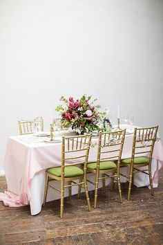 pink and green table setting | Read more on http://onefabday.com/pink-green-black-gold-wedding-table/