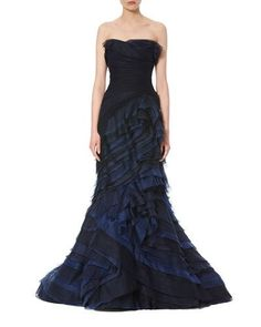 B3HXL Carolina Herrera Strapless Ombre Ruffled Gown, Navy