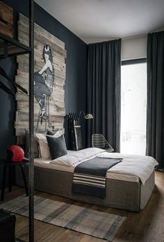 #blackwalls #blackinterior #Bedroom going to put the bed in this position like the long rug
