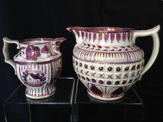 Antique Staffordshire Sunderland pink copper luster pitcher & creamer 1830s