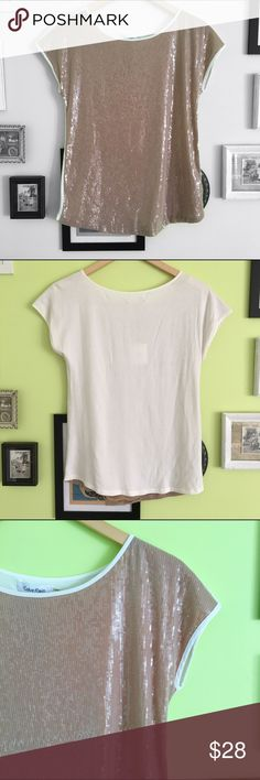 Calvin Klein Shirt Sparkly Calvin Klein shirt. New with tags. There is a small spot on the back neck line. It's not noticeable and may even come out in the wash.   ⭐️10% off 2+ bundle ⭐️Size small  ⭐️Smoke Free Home Calvin Klein Tops Tees - Short Sleeve