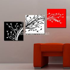 Online Shop Picture Superb Canvas Print Charm BeautifulCharm huge huge Charm Wall Hanging Art red white black tree 70 (No Frame)( Diy Wall Art, Wall Art Sets, Wall Decor, Diy Canvas, Canvas Wall Art, 3 Piece Canvas Art, 3 Piece Wall Art, Canvas Ideas, Art Blanc