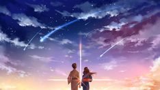 Your Name. Taki and Mitsuha Sunrise Comet Night Sky Stars Clouds Wallpaper