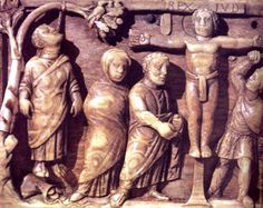 Early example of Christian art, c.420, showing Christ crucified and Judas hanging.   Early Christian Art