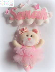 little girl teddy bear ballerina name banner in felt/tulle.NO pattern Baby Crafts, Felt Crafts, Diy And Crafts, Felt Name Banner, Sewing Projects, Projects To Try, Baby Mobile, Felt Baby, Felt Patterns