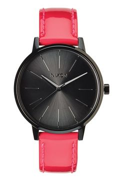 Nixon 'The Kensington' Patent Leather Strap Watch, 37mm available at #Nordstrom