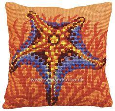 Buy Etoile et Corail Orange Cushion Front Chunky Cross Stitch Kit Online at www.sewandso.co.uk