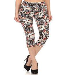 82dd7a68deb Elegant4U Junior Plus Sexy Artistic Sketch Plus Size Printed Capri Legging  at Amazon Women s Clothing store